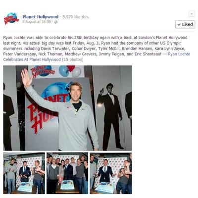 Ryan Lochte's birthday at Planet Hollywood