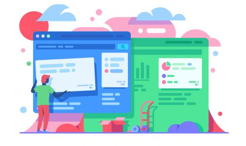 2019 website design trends graphic of man holding a colourful content block to design a website