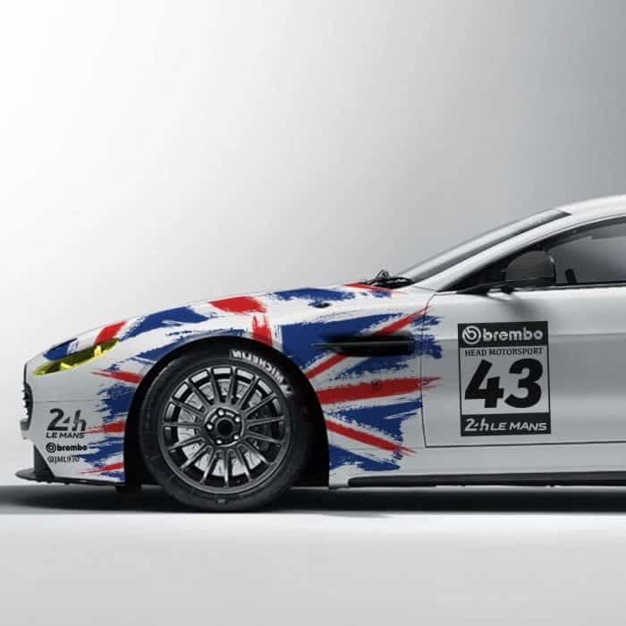 bespoke livery design at webheads side view of white care with union jack flag design adorning it