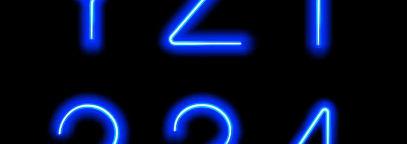 colour and website design blue neon letters and numbers on a black background
